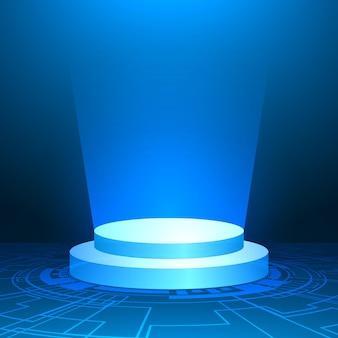 Pódio com luz azul, fundo azul mínimo, forma geométrica, placa de circuito digital de tecnologia