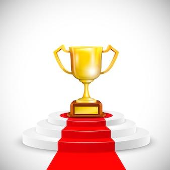 Pódio com tapete vermelho e copa do troféu.
