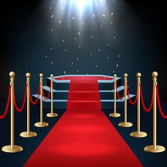 Pódio com tapete vermelho e corda de barreira no brilho dos holofotes