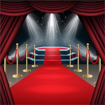 Pódio com tapete vermelho e cortina em brilho de holofotes