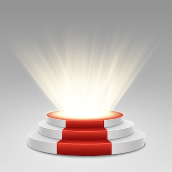 Pódio com tapete vermelho. palco para cerimônia de premiação. pedestal. holofote. ilustração.