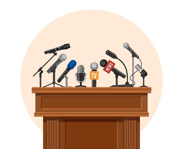 Pódio da coletiva de imprensa. tribune para palestrante de debate com microfone de jornalista. entrevista de plataforma ou conceito de vetor de anúncio público. debate e apresentação de ilustrações, entrevista coletiva na tribuna
