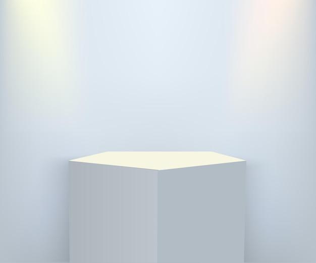 Pódio de apresentação do produto iluminado com luz colorida, palco branco sobre fundo azul