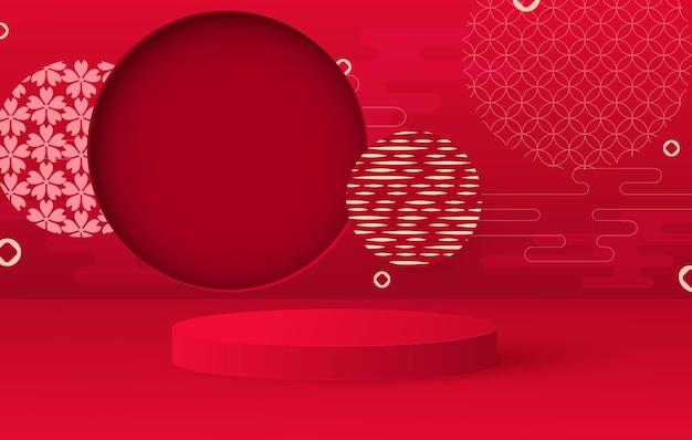 Pódio de apresentação. fundo festivo pendurado lanternas, padrões. suporte redondo vermelho.