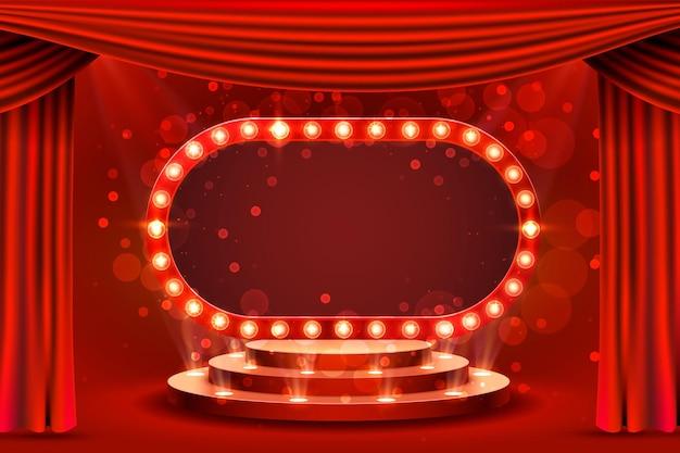 Pódio de cena retrô de moldura vermelha, horário de exibição em branco.