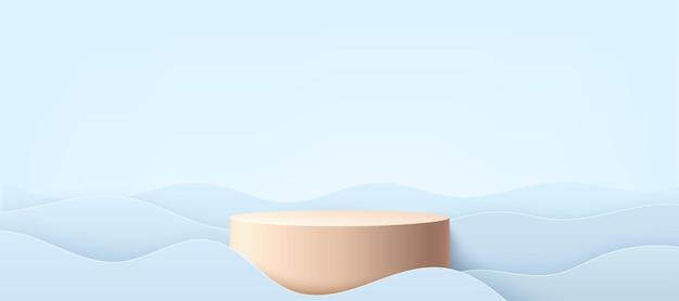 Pódio de cilindro bege pastel abstrato com fundo de padrão de forma ondulada de cor azul claro