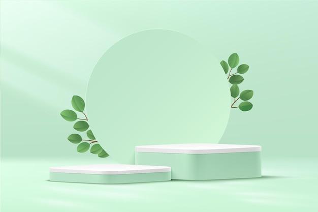 Pódio de cubo 3d abstrato com canto redondo verde e branco com pano de fundo circular e folha verde