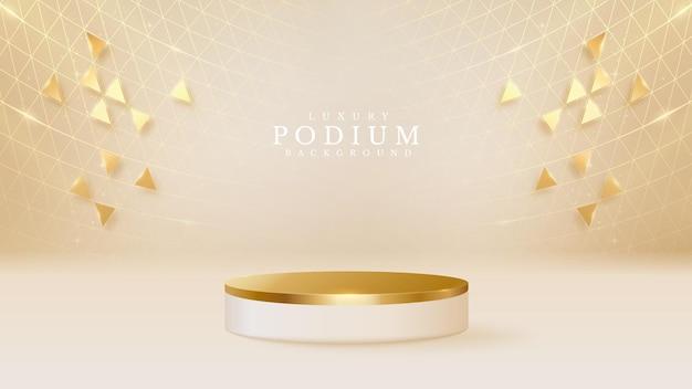 Pódio de estilo 3d em forma de fundo de luxo dourado, ilustração vetorial para promoção de vendas e marketing.