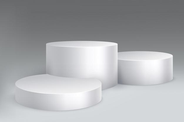 Pódio de estúdio. base de pilar de mármore, pedestal com cilindros.