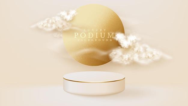 Pódio de exibição branco com elemento círculo e nuvem na cena traseira, conceito de fundo de luxo realista, espaço vazio para colocar texto e produtos para promoção. ilustração em vetor 3d.