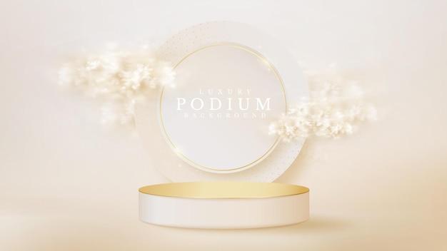 Pódio de exibição branco com elemento de círculo e nuvem na cena traseira, conceito de fundo de luxo realista, espaço vazio para colocar texto e produtos para promoção. ilustração em vetor 3d.