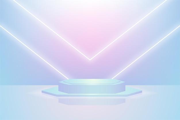 Pódio de exibição de produto azul e rosa com luz branca