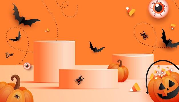 Pódio de exibição de produtos festivos de halloween feliz com cara de abóbora assustadora