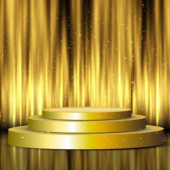 Pódio de exibição dourada sobre fundo de cortinas de seda