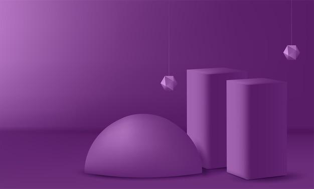 Pódio de exposição do produto decorado. ilustração vetorial