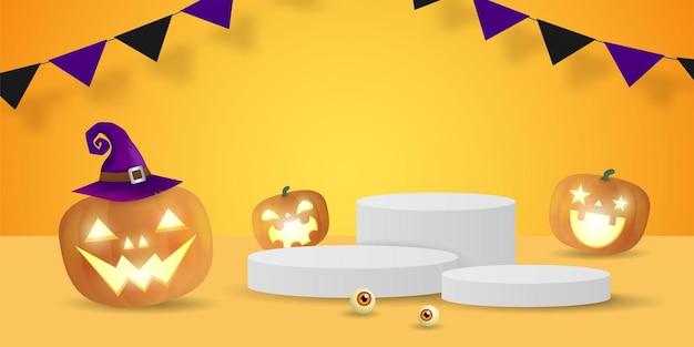 Pódio de halloween para conceito de exibição de produto exposição e vitrine com canteiro de abóboras