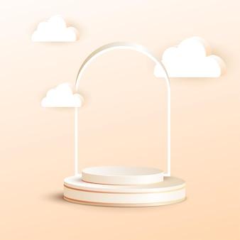 Pódio de luxo 3d com moldura e nuvem