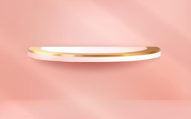 Pódio de luxo realista no fundo rosa pastel da parede para produtos de exibição