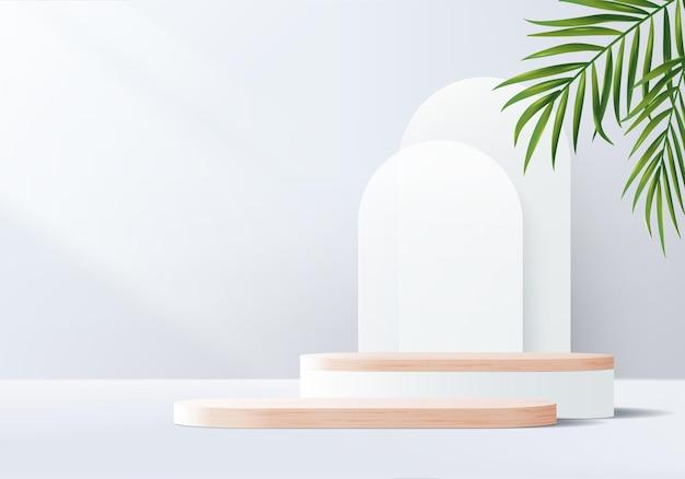 Pódio de madeira com fundo cinza 3d com plataforma geométrica de folhas.