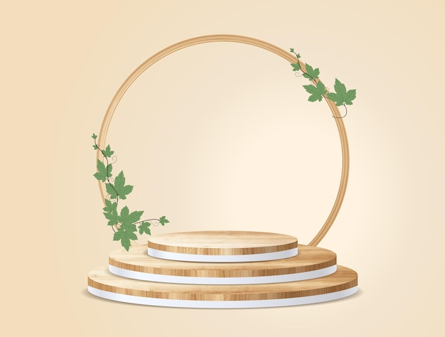 Pódio de madeira de vetor no fundo da sala de parede, simulação de apresentação, design de pedestal de palco de exibição de produtos cosméticos