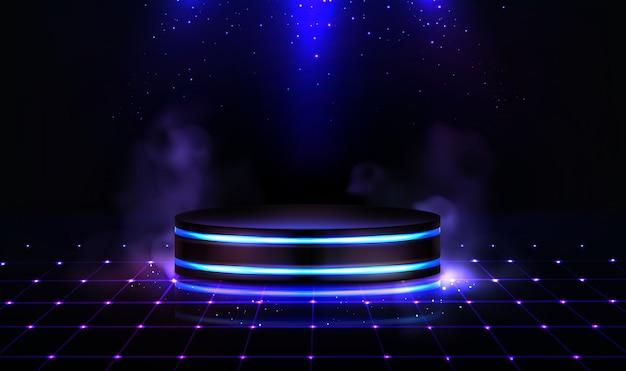 Pódio de néon com fumaça e brilhos