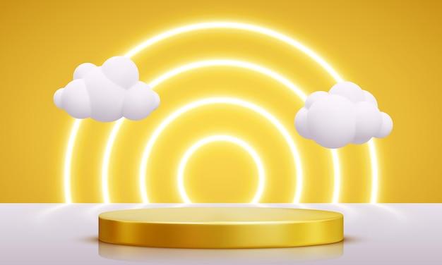 Pódio de ouro decorado com iluminação. pedesta realista com nuvens para produto, publicidade, show, cerimônia de premiação, sobre fundo amarelo. estilo mínimo. ilustração vetorial