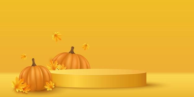 Pódio de outono com abóbora 3d realista e folhas de bordo para exibir os produtos de sua marca no dia de ação de graças. vitrine e prateleira. cena vazia. ilustração vetorial