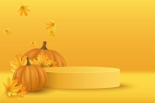 Pódio de outono com abóbora 3d realista e folhas de plátano para exibir seu produto no dia de ação de graças. vitrine e prateleira. cena mínima vazia. ilustração vetorial