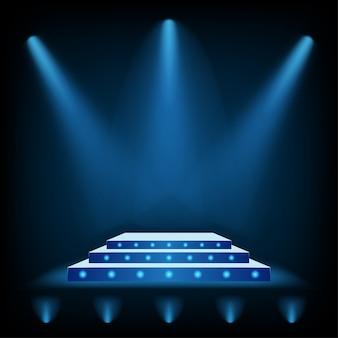 Pódio de palco 3d com holofotes azul e chão ligh