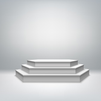 Pódio de palco branco em branco