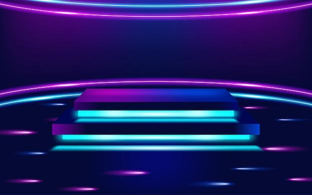Pódio de palco com iluminação, cena de pódio de palco. ilustração