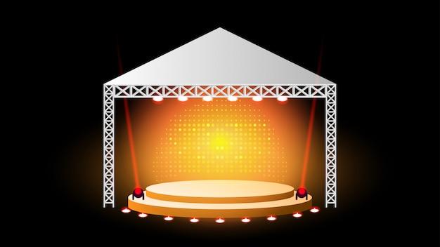 Pódio de palco com iluminação