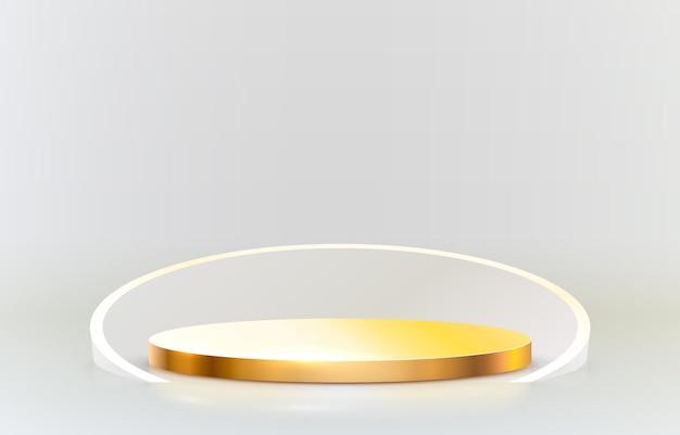 Pódio de palco dourado com moldura dourada em fundo cinza