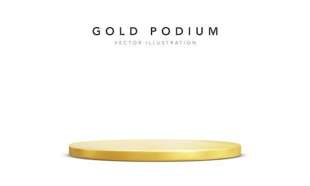 Pódio de palco dourado realista isolado no branco