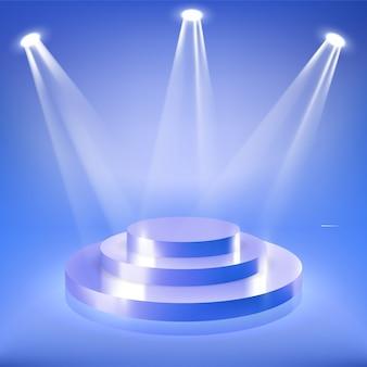 Pódio de palco em destaque de néon azul