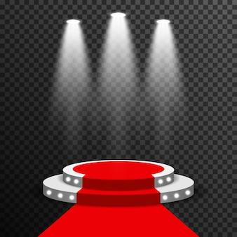 Pódio de palco iluminado com vector tapete vermelho transparente