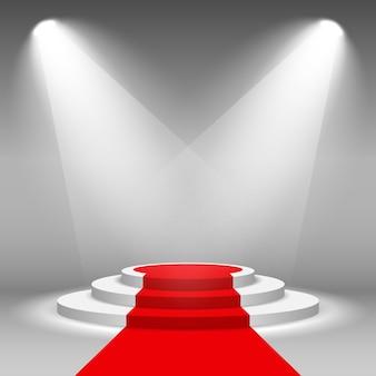 Pódio de palco iluminado holofotes de cena com tapete vermelho