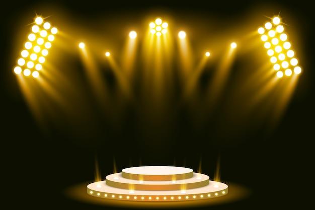 Pódio de palco iluminado holofotes de cena