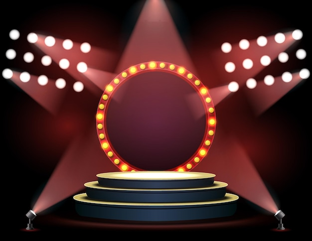 Pódio de palco realista com holofote de iluminação elegante