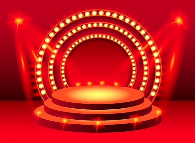 Pódio de palco redondo vermelho com iluminação. para banners, cartazes, folhetos e brochuras.