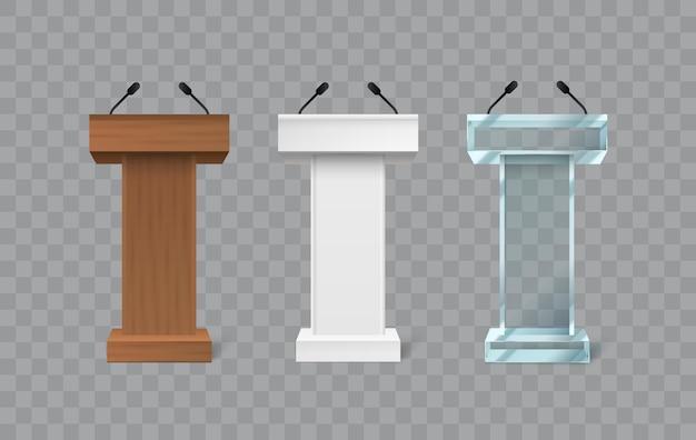 Pódio de palestra rostrum com palco para conferência com microfone