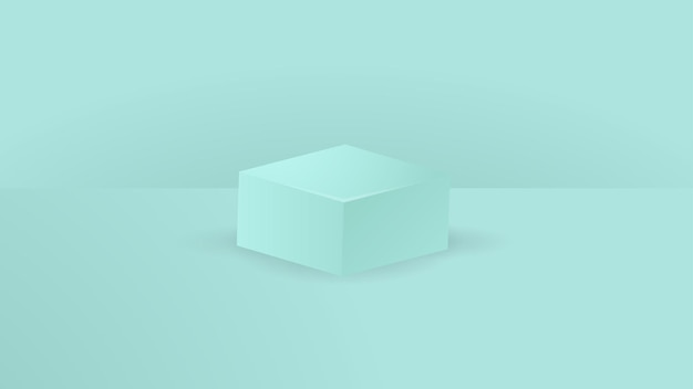 Pódio de pedestal de caixa quadrada verde claro. vetor abstrato que rende a forma 3d. apresentação de exposição de produtos cosméticos. cena de parede mínima.