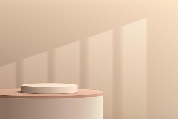 Pódio de pedestal de cilindro 3d bege abstrato com cena de parede creme marrom e iluminação de janela