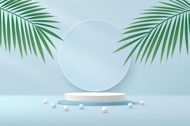 Pódio de pedestal de cilindro 3d branco e azul abstrato com folha de palmeira verde e bola esférica