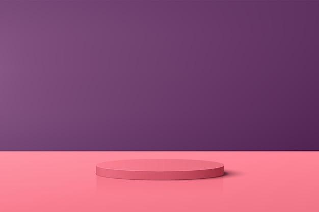 Pódio de pedestal de cilindro 3d rosa coral abstrato com cena roxa para apresentação de exibição de produto