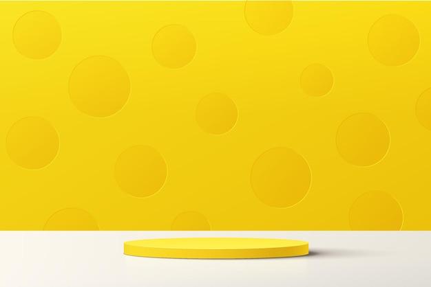 Pódio de pedestal de cilindro amarelo 3d abstrato com cena mínima de parede de bolinhas amarelas pastel
