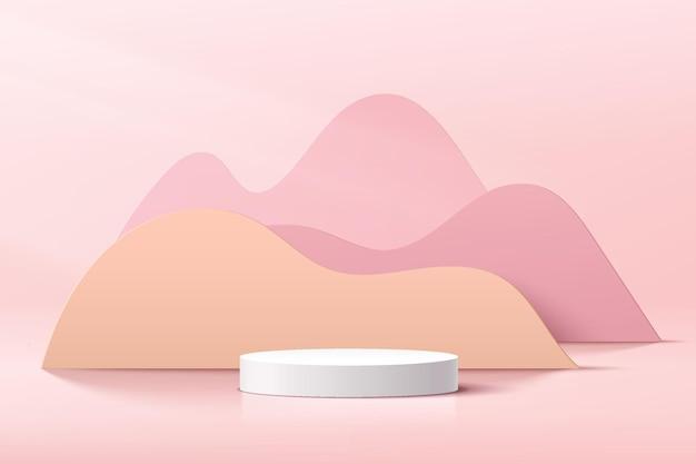 Pódio de pedestal de cilindro branco 3d abstrato com camadas geométricas de curva pastel como pano de fundo