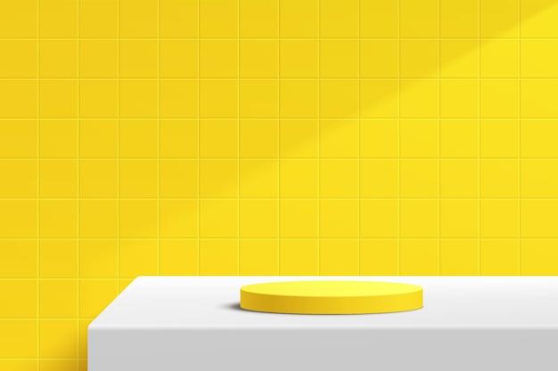 Pódio de pedestal de cilindro branco 3d abstrato na mesa branca com cena de parede de azulejo quadrado amarelo