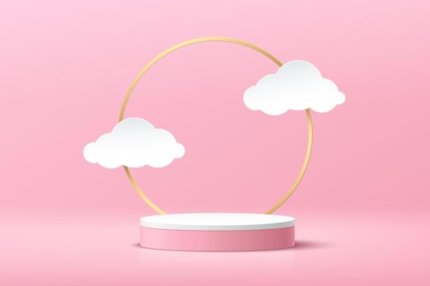 Pódio de pedestal de cilindro branco de renderização 3d abstrata com nuvem de anel dourado branco em estilo de corte de papel