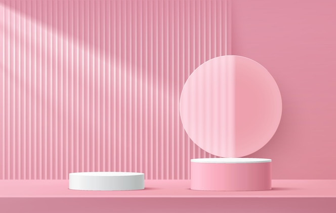 Pódio de pedestal de cilindro branco e rosa com renderização em 3d abstrato com forma de círculo de vidro transparente